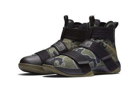 Reconfigured Military-Inspired Sneakers - Nike Adapted Its LeBron Soldier 10 with a Camouflage Print