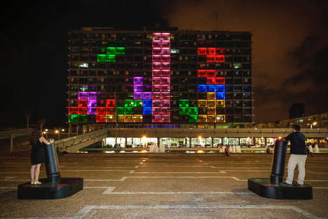 Playable Arcade Game Buildings - This Building's Facade was Turned into a Playable Tetris Monitor