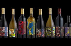 Marbled Wine Branding - This Wine is Labeled Like the Spines of Books Would Be