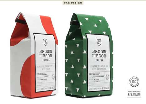 Cycling-Inspired Coffee Branding - Broom Wagon Coffee's Packaging Draws Inspiration from Cycling