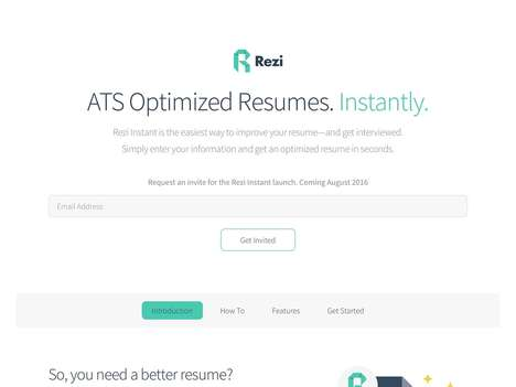 Optimized Resume Services - Startup Rezi Instant Helps You Improve Your Resume in Just Seconds