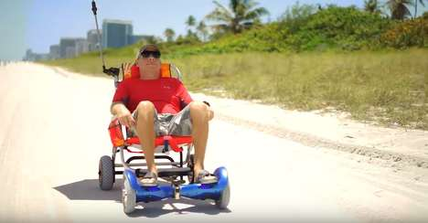 Wheelchair Hoverboard Attachments - HoverSeat Turns Hoverboard Toys into a Rolling Beach Chair