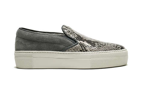 Slip-On Snakeskin Sneakers - These Silver Shoes Were Released by 'THE PARK · ING GINZA' in Tokyo