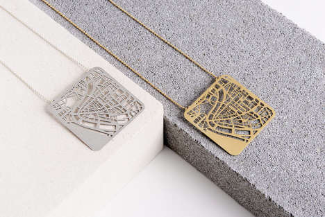 Urban Topography Jewelry - Talia Sari Wiener Creates Maps of Neighbourhoods as Metallic Pendants