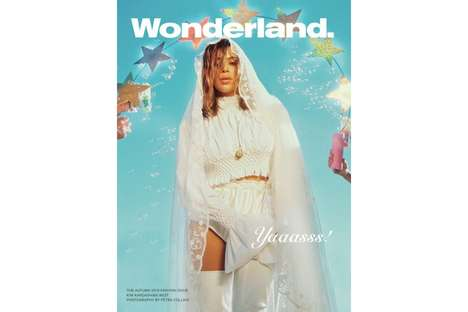 Dreamy Celebrity Bride Covers - The Wonderland Magazine Cover Shows Kim Kardashian in Wedding Attire