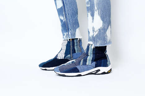 Vintage Patchwork Sneakers - mythography and BONUM Joined to Create a Strange Denim Series