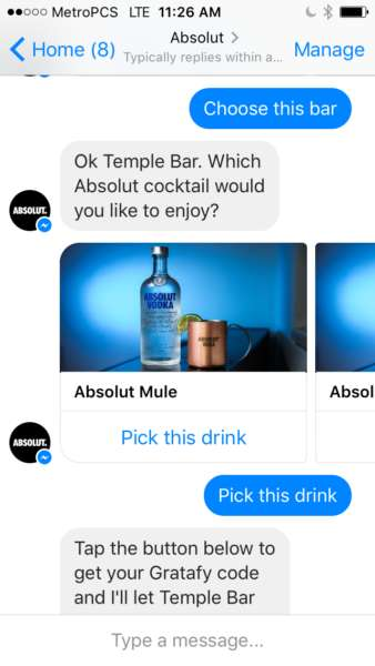 Cocktail-Sharing Chatbots - Absolut's Facebook Messenger Chatbot Treats Users to a Free Drink