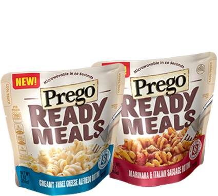 Microwavable Pasta Pouches - The Prego Ready Meals Serve as a Tasty and Convenient Meal Solution