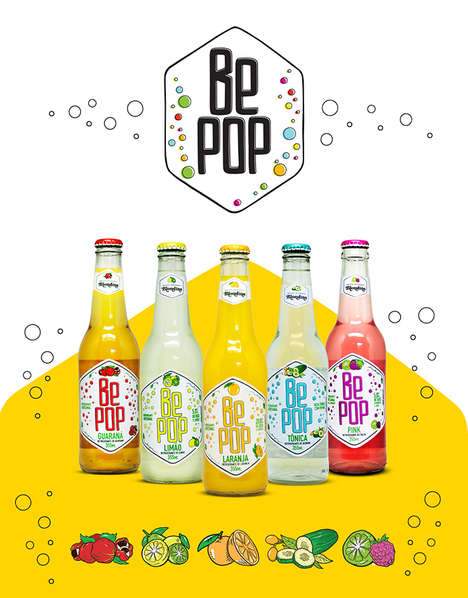 Natural Artisanal Soda Branding - Be Pop is a New Soda Brand with Sparkling Packaging and Products