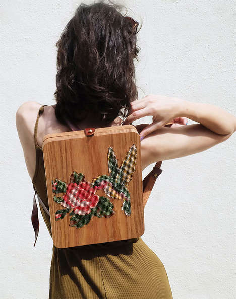 Embroidered Wooden Bags - These Bags are Made from Two Juxtaposing Materials