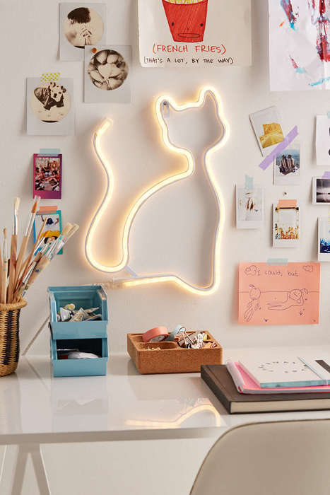 Playful Cat Lighting - Urban Outfitters' LED Cat Lamp is a Quirky Dorm Room Accent