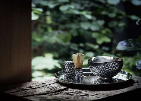 Luxurious Traditional Tea Sets - 'Kusa' is a Silver Japanese Tea Set Designed for Georg Jensen