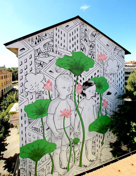 Curious Child Murals - These Urban Murals by Millo Depict Enormous Children Learning the City