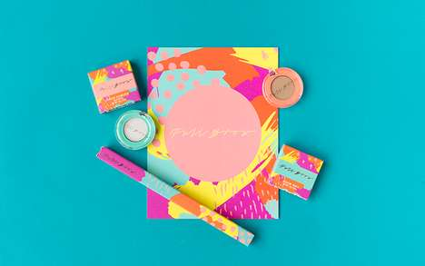 Chromatic 80s Makeup Branding - The Full Brow Make-Up Packaging is Vibrantly Edgy