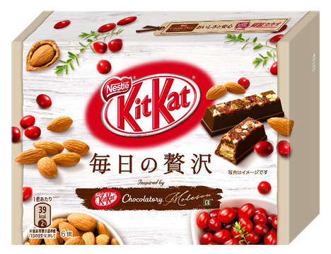 Textured Fruit Chocolates - The Newest Kit Kat Chocolates are Topped with Fruits and Nuts