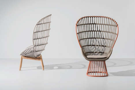 Elaborate Woven Rope Chairs - The Versatile Cala Armchair by Doshi Levien Has an Enveloping Backrest