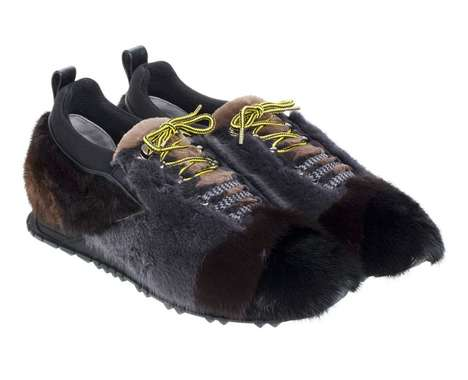 Color-Blocked Fur Sneakers