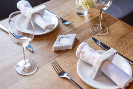 Multipurpose Tealight Holders - EYKING's Marble Homeware Design Holds Dinner Napkins and Tealights