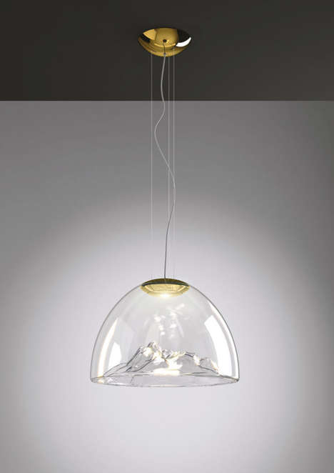 Sculptural Landscape Lamps - These Suspended Lamps Contain Sculptural Pieces of Art