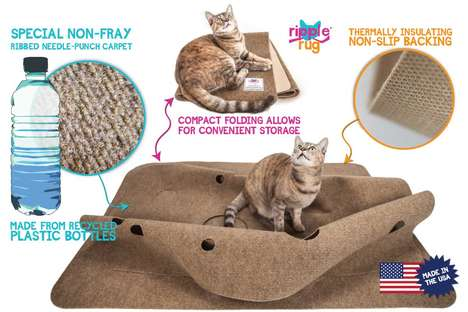 Playful Cat Rugs - The 'Ripple Rug' Saves Furniture from Feline Ferocity
