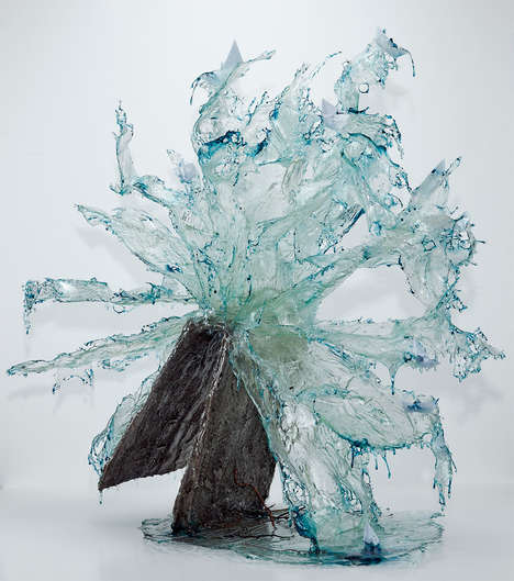 Fluid Resin Sculptures - These Sculptures Were Made to Realistically Resemble Splashing Water