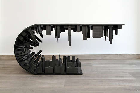 City Skyline Coffee Tables - The Wave City Table's Design is Inspired by the Popular Film Inception