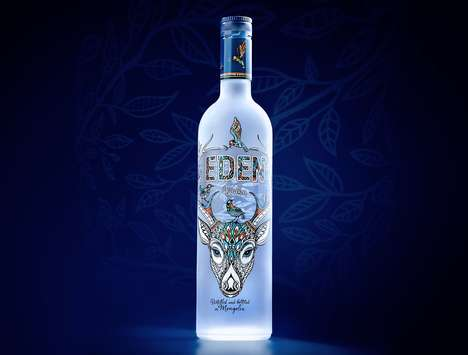 Garden-Themed Vodka Branding - Eden Vodka Features Mystical, Nature-Themed Packaging