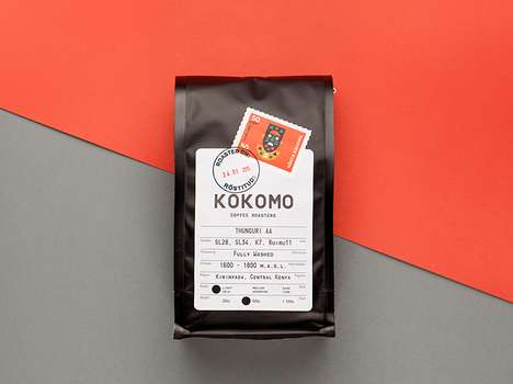 Postage Stamp Coffee Branding - These Kokomo Coffee Pouches Reinforce the Origin of the Beans