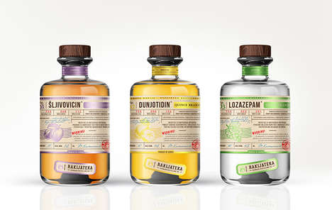 Medicinal Alcohol Packaging - The Rakijateka Distilling Company Branding Focuses on Heritage