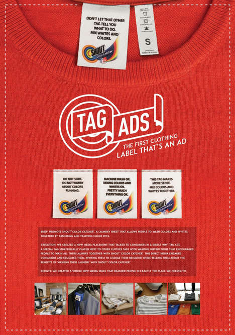Clothing Tag Advertisements - Shout's Color Catcher Ads are Stationed on Clothing Labels