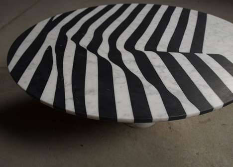 Zebra-Like Marble Tables - Olga Bielawska Designed a Series of Unique Striped Tables for Veiled
