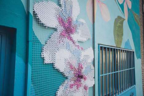 Cross-Stitched Murals - This Woven Street Art is Integrated into the Sides of Buildings