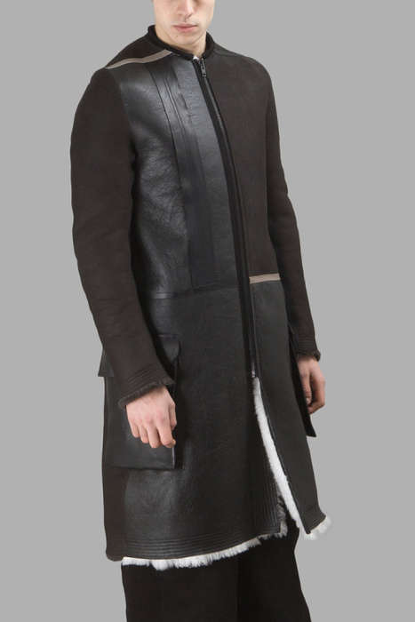 Patchwork Sheepskin Jackets - This Rick Owens Jacket is Made with Alternating Leather and Sheepskin