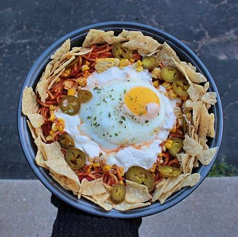 Hybrid Taco Pastas - The Vulgar Chef Nachos Spaghetti Bowl is Topped With a Fried Egg