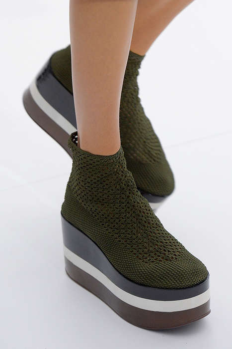 Luxury Knit Plaforms - This Season's Ferragamo Spring Shoes Feature Towering Platforms in Color