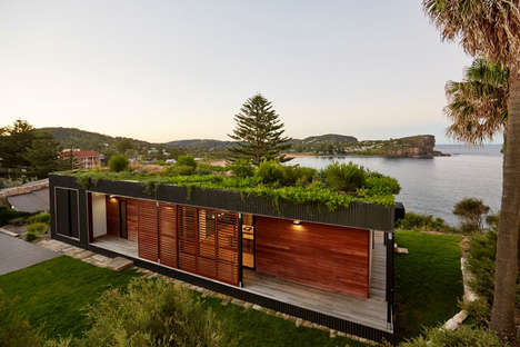Eco Prefab Homes - This Wood House by ArchiBlox Features a Green Roof and Sustainable Wood