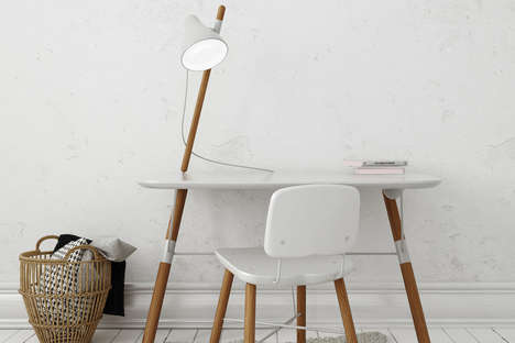 Multifaceted Leaning Workstations - The 'BEA' Workspace Desk Sits on Two Legs for Maximum Efficiency