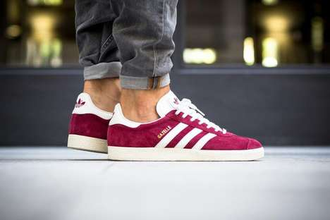Suede Wine Sneakers - These Casual Burgundy adidas Sneakers Feature Artful Branding on the Sides