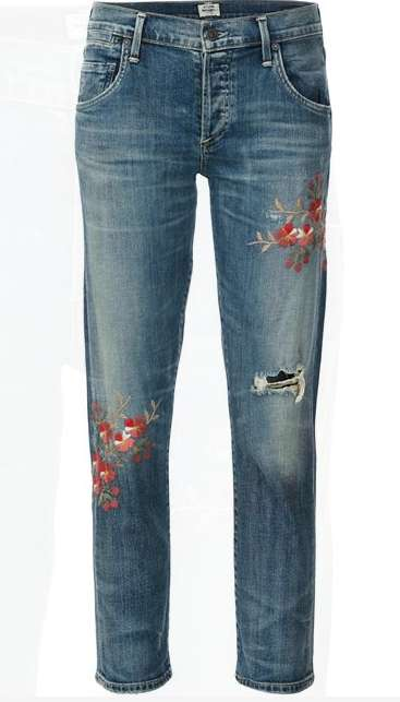 Embroidered Floral Jeans - These Jeans Features Delicate Botanical Embroidery