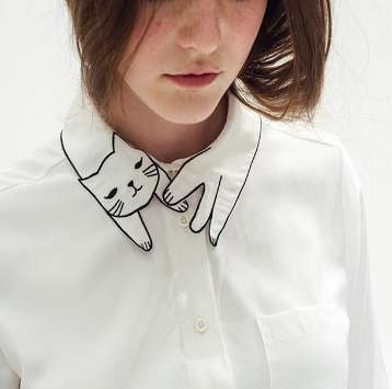 Kitty Collar Blouses - This Feline-Featuring Garment Jazzes Up an Otherwise Plain White Shirt