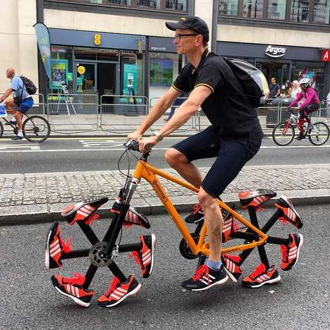 Running Shoe Bicycle Tires - This Attention-Grabbing Shoe Bike Has Footwear-Featuring Wheels
