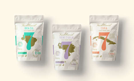 Geographic Coffee Packaging - Traditional 7 Classic Ground Coffee Beans Highlight Origin