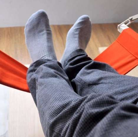 Desk-Attached Feet Hammocks - This Foot Hammock Lets You Put Your Feet Up While Working Hard