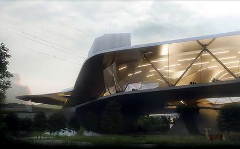 Sculptural Coastal Railway Stations - This Train Railway Station Imagines the Future of Travel