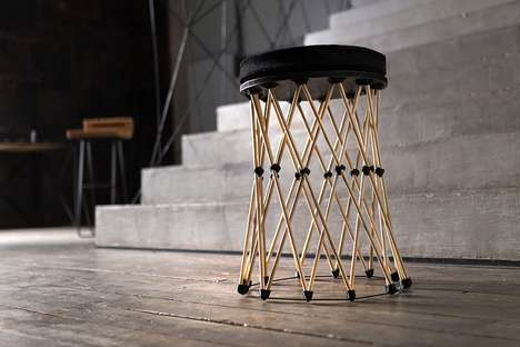 Skeletal Self-Assembly Stools - The 'shukhov' Seat Stool is Made Using Wood, Corks and More