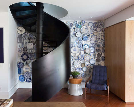 Vintage Plate-Covered Walls - This Brazilian House Was Re-Designed with a Signature Wall Accent