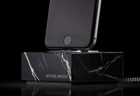 Solid Marble Smartphone Docks - The Native Union 'DOCK+' iPhone Charging Dock is Strikingly Chic