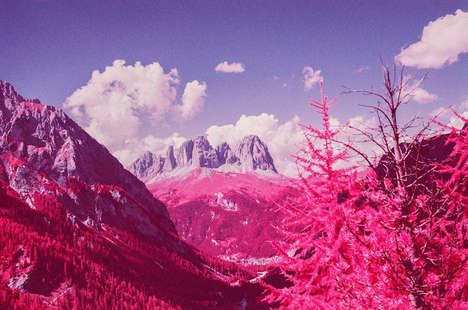 Infrared Fuchsia Landscapes - These Snowboarders Captured Italian Mountains with a Surreal Twist
