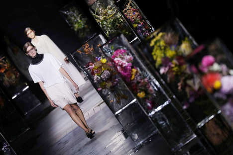 Ice-Encased Floral Arrangements - This Season's Dries Van Noten Runway Featured Frozen Bouquets