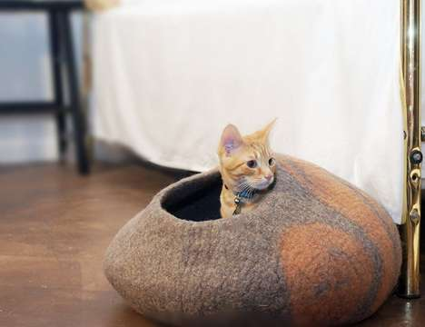 Handmade Felted Cat Beds - The 'KittiKubbi' Cat Bed Cave is Crafted from 100% Natural Wool
